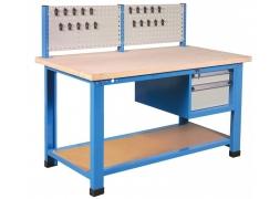 Stół warsztatowy 1000 kg z szafką dwuszufladową i ścianka na narzędzia PROVOST