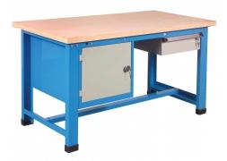 Stół warsztatowy 1000 kg + blok z drzwiami + pojedyncza szuflada PROVOST