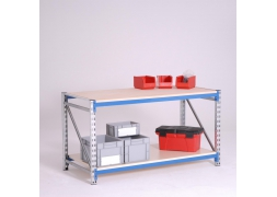 Stół warsztatowy  300 kg na konstrukcji regałowej z dolną półką PROVOST